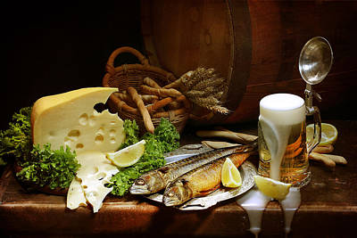 Still Life With Fish Photograph - Still-life With Cool Light Beer by Marina Volodko