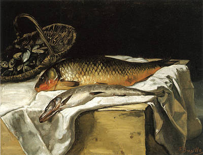 Still Life With Fish Print by Frederic Bazille
