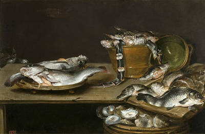 Still Life With Fish Painting - Still Life With Fish Oysters And A Cat by Alexander Adriaenssen