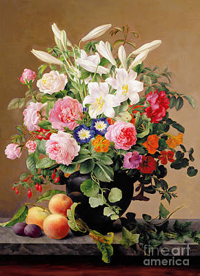 Fruit Painting - Still Life With Flowers And Fruit by V Hoier