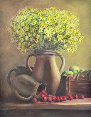 Still Life With Flowers And Fruits Print by Gynt Art