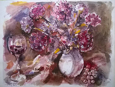 Wine Painting - Still Life With Flowers And Wine. by Lorand Sipos