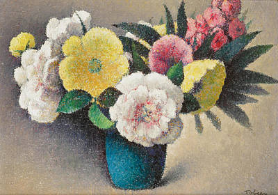 Multi Colored Painting - Still Life With Flowers by Felix Elie Tobeen