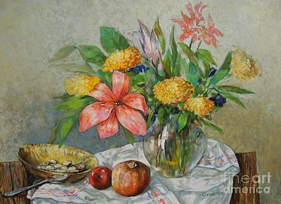 Table Cloth Painting - Still Life With Flowers by Grigor Malinov