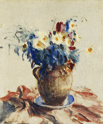 Conor Painting - Still Life With Flowers In An Earthenware Jug by Roderic O Conor