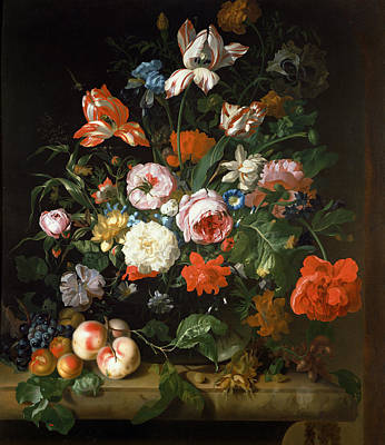 Variegated Painting - Still Life With Flowers  by Rachel Ruysch