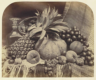 Still Life With Fruit And Decanter Roger Fenton Print by Litz Collection