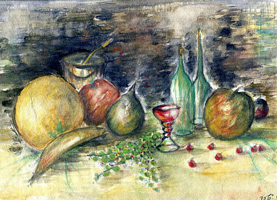 Illustration Drawing - Still Life With Fruits - Watercolor by Art America Online Gallery