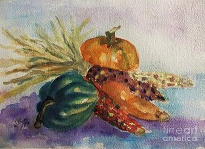Corn Painting - Still Life With Indian Corn by Ellen Levinson