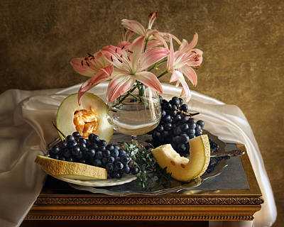 Still Life With Lily Flowers And Melon Print by Vitaliy Gladkiy