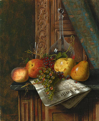 William Michael Harnett Painting - Still Life With Munich Newspaper Fruit And Decanter by William Michael Harnett
