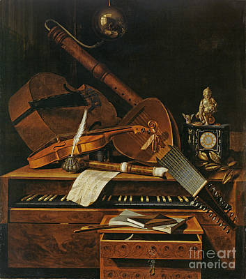 Lute Painting - Still Life With Musical Instruments by Pieter Gerritsz van Roestraten