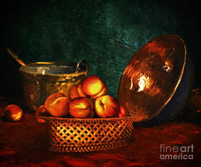 Still Life With Peaches And Copper Bowl Print by Lianne Schneider