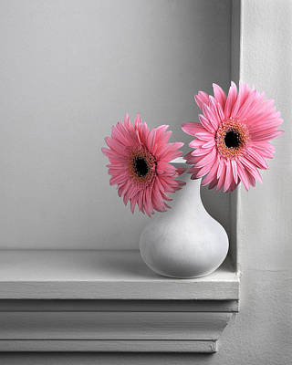 Still Life With Pink Gerberas Print by Krasimir Tolev