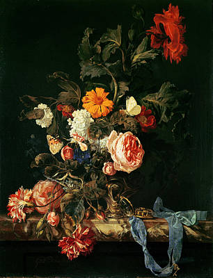 Still Life With Poppies And Roses Print by Willem van Aelst