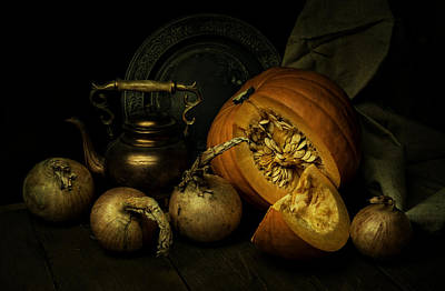 Still Life With Pumpkin And Onions Print by Jaroslaw Blaminsky