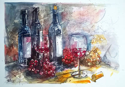 Wine Painting - Still Life With Red Wine And Grapes by Lorand Sipos