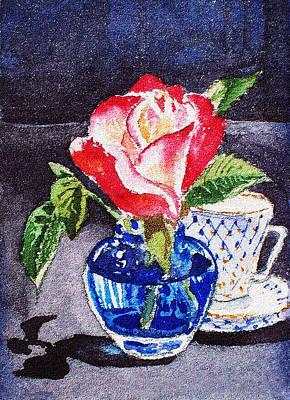 Outdoor Still Life Painting - Still Life With Rose by Irina Sztukowski