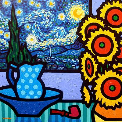 Wine Glass Painting - Still Life With Starry Night by John  Nolan