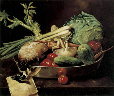 Carrot Painting - Still Life With Vegetables by William Merritt Chase
