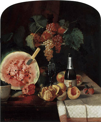 Still Life With Watermelon Print by William Merritt Chase