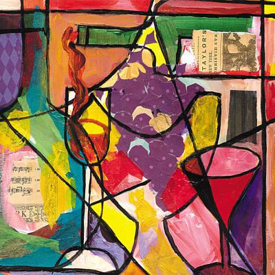 Wynton Marsalis Mixed Media - Still Life With Wine And Fruit B by Everett Spruill