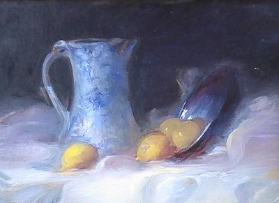 Still Life With Yellows And Blues Print by Patricia Kimsey Bollinger