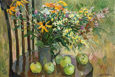 Still Life With Green Apples Painting - Stilllife With Apples by Juliya Zhukova