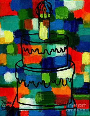 Black History Painting - Stl250 Birthday Cake Abstract 2 by Genevieve Esson