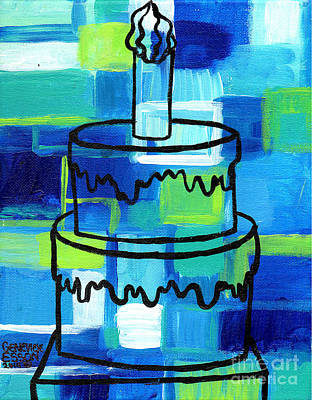 Candle-abstract Painting - Stl250 Birthday Cake Blue And Green Abstract by Genevieve Esson