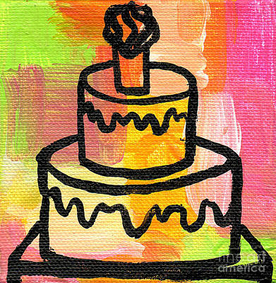 Black History Painting - Stl250 Birthday Cake Pink And Green Small Abstract by Genevieve Esson