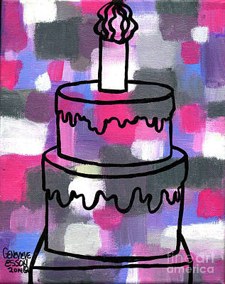 Black History Painting - Stl250 Birthday Cake Pink And Purple Abstract by Genevieve Esson