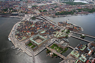Helicopter Photograph - Stockholm Aerial View by Lars Ruecker
