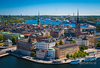 Stockholm From Above Print by Inge Johnsson