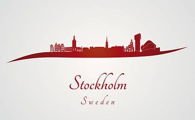 Sweden Digital Art - Stockholm Skyline In Red by Pablo Romero