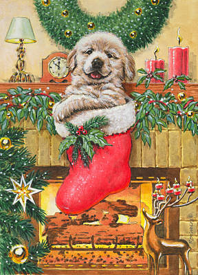 Christmas Eve Painting - Stocking Stuffer by Richard De Wolfe