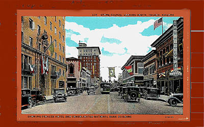 Stone Avenue South Trolley Pioneer Hotel Consolidated Nat'l Rodeo Banners C. 1928 Collage '08 Tucson Print by David Lee Guss