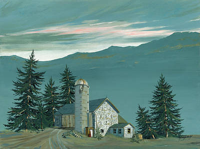 Barn Landscape Painting - Stone Barn by John Wyckoff
