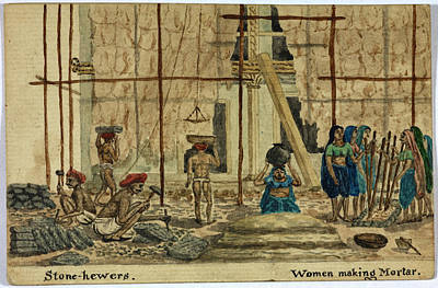 Stone-hewers And Women Making Mortar Print by British Library
