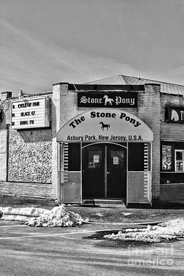 Stone Pony In Black And White Print by Paul Ward