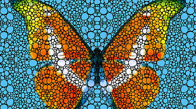 Stone Rock'd Butterfly By Sharon Cummings Print by Sharon Cummings