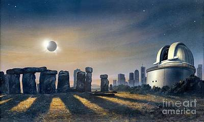 Megalith Photograph - Stonehenge And Observatory, Artwork by David A. Hardy
