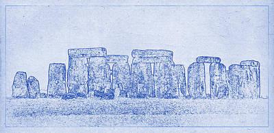 Stonehenge Blueprint Print by Justin Woodhouse