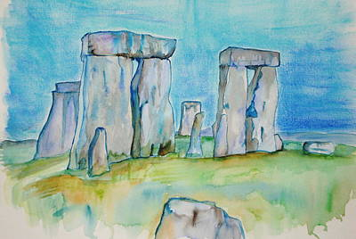 Megalith Painting - Stonehenge Guardians by KD Martel
