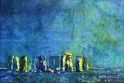 Rice-paper Painting - Stonehenge In Moonlight by Ryan Fox
