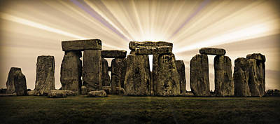 Winter Solstice Photograph - Stonehenge -- With Sunburst by Stephen Stookey