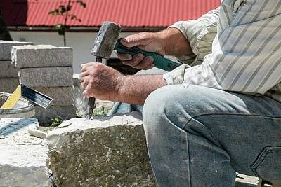 Stonemason At Work Print by Photostock-israel