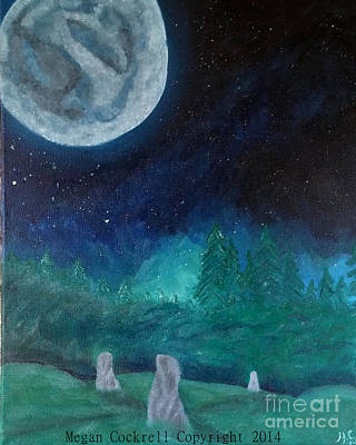 Surreal Landscape Painting - Stones Of The Night by Megan Cockrell