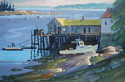 Fish Shacks Painting - Stonington Maine by Len Stomski