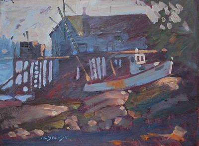 Fish Shacks Painting - Stonington Study by Len Stomski
